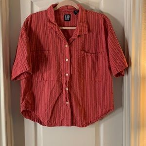Gap Short Sleeved Striped Button Down Top